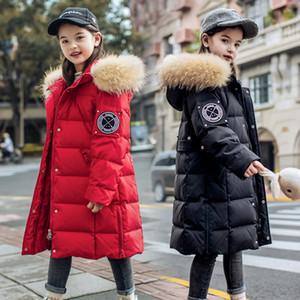 2020 جديد شتاء دافئ الأبيض بطة أسفل الستر فتاة الملابس مقنع معطف للأطفال -30 سترة ريال الطبيعية الفراء الملابس البدلة الدافئة