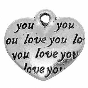 "Toptan-DoreenBeads Çinko metal alaşım Charm Kolye Kalp Antik Gümüş Mesajı Desen ""Love siz"" 14mm (4/8 "") x 12mm (4/8""), 4 Piec AqYn #"