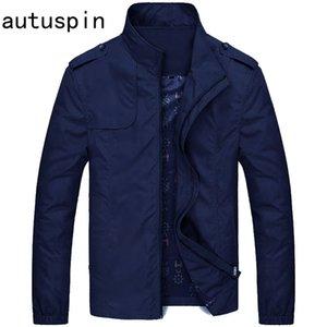 autuspin nuovi Mens del collare del basamento del rivestimento colore solido di modo casuale del rivestimento cappotti Autunno Inverno sottile di alta qualità tuta sportiva M-4XL