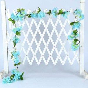 Künstliche Hochzeit 18Head Kirschblüten Blumen-Reben Garland Bogen Layout-Dekor Künstlicher Kirschblüten-Rebe 2020 New Arrival