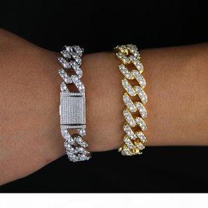 Rhinestone cz Cuban bracelet Iced Out link chain For Men Hip Hop Paved CZ Rapper luxur bracelet Jewelry accessories gift