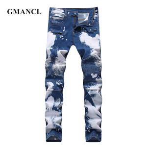 GMANCL Männer dünne gerade Knie Plissee Stitching-Denim-Hosen Printed Qualitäts-Mann-Motorrad Hip Hop Biker Jeans Street