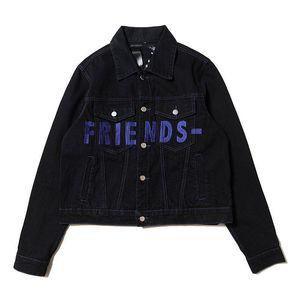 Vlone chaquetas para hombre de la chaqueta de dril de algodón Vlone estilista chaquetas flaco Slim Fit Fahsion Negro Chaqueta Tejana abrigos de invierno de tamaño S-XL