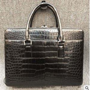 XHPJ autentica Il coccodrillo pancia vera pelle una valigetta singolo sacchetto di spalla maschio di spalla propenso borsa business