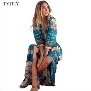 2020 nuevas mujeres del vestido largo de Bohemia impresión larga maxi vestido estampado de flores retro hippie vestidos boho chic de la marca de ropa