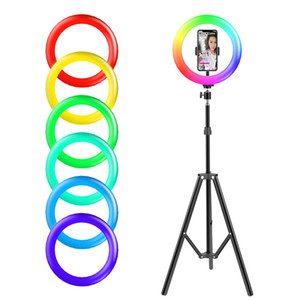 Colorful RGB LED Ring Lamp 10inch 26cm Light with Mobile Phone Holder 1.6M Stand Tripod for TikTok Vlogging YouTub Live Video Bloggers Vlog