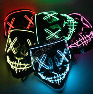 Маски для лица Luminous для Хэллоуина Конструкторы LED Светящегося Horror маска Purge Face Cover INS костюм DJ Party Light Up Маска Glow В Dark D81805