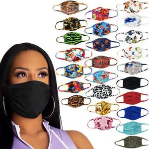 여성 남성 입 커버 패션 세척 얼굴은 28 색 마스크 더블 레이어 얼굴 포랄 나비 방진 안티 UV 디자이너 얼굴 마스크를 인쇄 마스크