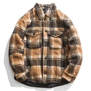 Mens Winter Parkas Casual Pocket Long Sleeve Jacket Coat Outwear Thick Warm Coat Plaid Jackets and Coats casaco masculino 2020