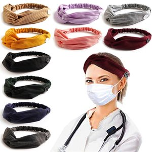 11 Colors Face Mask Headband With Button Ear Protective Hair Band Women Gym Sports Yoga Hairband Elastic Hairlace Headress YYA1394