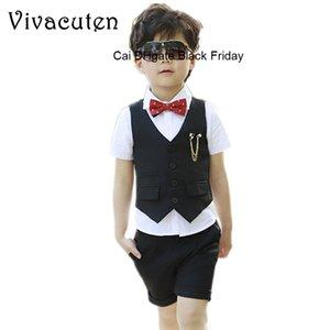 Kids Summer Fashion Formal Clothing Set for Boys Dress Wedding Vest Pants Suit New Gentle Boys Suit Set Children Prom Suits F147