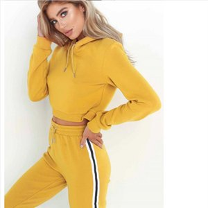 Free Striped Solid 2 Two Piece Set Top and Pants Women Harajuku Crop Top Sexy Hoodies Sweatshirts Tracksuit D0635
