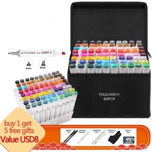Touchnew 마커 펜 설정 펠트 펜 5 개 선물 1백68분의 80 개 컬러 애니메이션 스케치 마커 듀얼 헤드 그리기 아트 브러시 펜