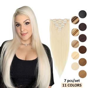 MRSHAIR clipe na máquina de extensões do cabelo humano feito Remy Cabelo Liso # 60 Loiro Castanho Cabelo Natural Color 7pcs brasileira