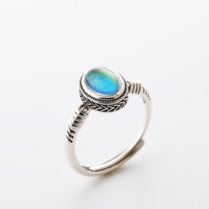 New Fashion Handmade High Quality Real Silver Ring Women Best Gift Adjustable Emotional Control Mood Ring