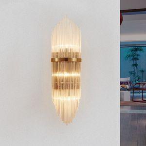 Creativa de oro cubierta de la sala de lujo de cristal lámpara de pared lámpara de cabecera llevó Post Modern Classic Hotel pasillo luces de la pared del pasillo