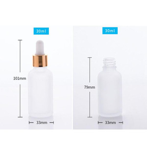 whole sale 30ml frosted glass dropper bottle essential oil glass bottle with gold sliver black cap l frosted glass dropper bottle essential