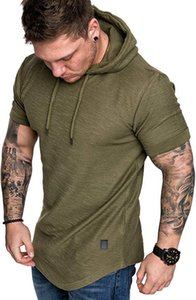 2020 Casual Mens T Shirt with Hooded Fashion Summer T Shirts for Men Streetwear Tees Tops Quality Solid Color Mens T Shirts Size S-2XL
