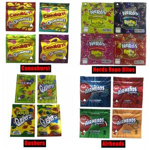 Novas 500mg mordidas nerds embalagem comestível corda Cannaburst gummy embalagem à prova de cheiros sacos Gushers ácidas edibles doces vazio sacos de Mylar