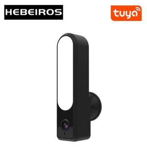 카메라 Hebeiros Tuya Smart Life 투광 조명 카메라 HD 1080P 야외 방수 WiFi LED 램프 보안 감시 CCTV IP