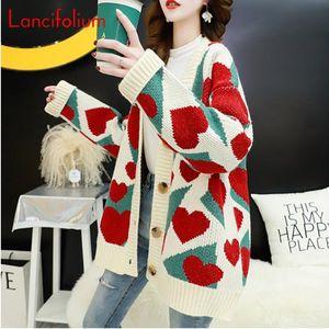 Harajuku Love Heart Sweater Coat Women Autumn Fall Winter Oversized Knitted Sweater Cardigan Cute Graphic Korean Loose Jacket