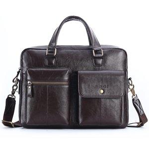 Cow Couro Vintage Briefcase Messenger Bags 14 polegadas Laptop Shoulder grande capacidade Bag Handbag real Lether