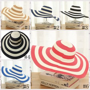 Striped Beach Hats Women Straw Brimmed Hat Girl Classic Black and White Striped Vintage Wide Large Brim Sun Hat Fashion Caps GGA3631-1