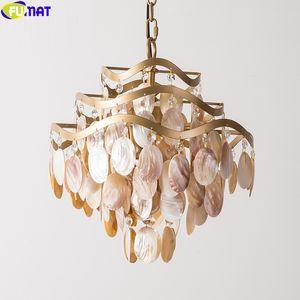 Arañas de estilo de Americal lámpara pendiente de cristal K9 FUMAT concha Shell colgantes Marco de las luces LED Fixture multicapa Decoración de oro