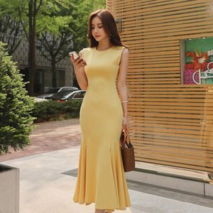 2020 summer High quality women work wear temperament office lady sleeveless natural O-neck solid mid-calf party Mermaid dress
