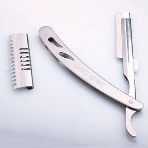 Duradera del corte de pelo acero inoxidable del cuchillo unisex portable profesional de Afiladísimo hombres cómodos de plata manual máquina de afeitar maquinillas de afeitar TQQ BH0849