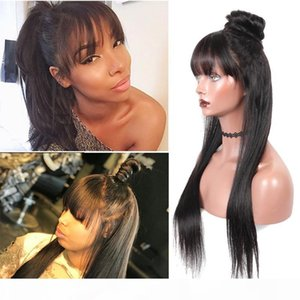360 Frontal Full Lace Human Hair Wigs With Bangs Virgin Brazilian Pre Plucked Long Straight 360 Lace Front Wig For Black Women