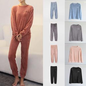 Otoño Invierno franela Conjunto de pijama para mujer de felpa Fleece Ropa de dormir Ropa Inicio capucha de terciopelo Coral camisón Traje pijama de 2020