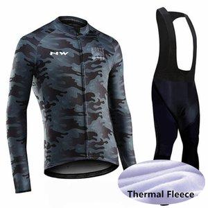 2020 Pro Team Men Winter long sleeves Windproof warm cycling winter Thermal Fleece jersey bib pant sets s70960