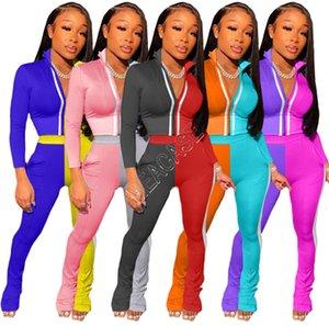 Los diseñadores mujeres constrast color mono del remiendo de la cremallera chaquetas Crop Top Coat pantalones a rayas chándal reflectante dos piezas traje D9107