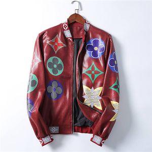 Api pelle 20ss Uomini Giacche Faux Barocco stampa floreale giacca a vento Designers Mens V-Neck Slim Zipper Hooded tuta sportiva di inverno Cappotti