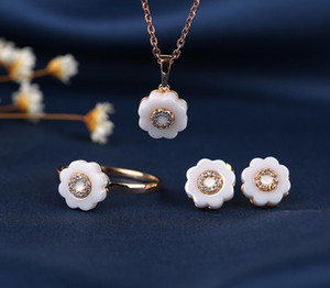 New Style Flower Shape Ceramic Girl Jewelry Set Black White Necklace Elegant Earrings Fashion Ring For Love Gifts Xmas11
