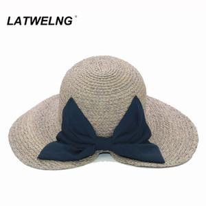 LATWELNG diseño original arco de la manera del verano Sun sombreros de la playa para el partido de ala plegable Mujeres Holiday visera del sombrero de las señoras ULTRAVIOLETA sombrero grande