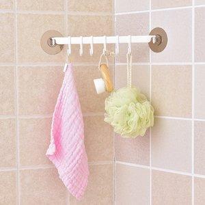 Self Adhesive 6 Hooks Bathroom Wall Titular toalha pendurada rack livre-prego Strong Cole rack Ganchos Key Hooks armazenamento Kitchen