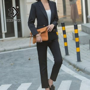 2020 di Autunno Business Women Blazer Suit Office Lady stile formale Turn-down Collar doppio petto a due pezzi set Tops S96911D