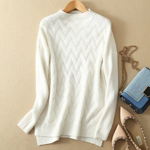 2020 autumn and winter new cashmere sweater women's sweater round neck slits Slim pullover
