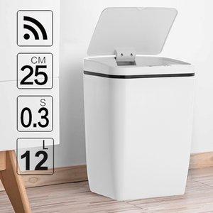 12L الموضة الجديدة حثي نوع سلة مهملات الاستشعار الذكية الرئيسية حمام برميل التخزين القمامة بن الفولاذ المقاوم للصدأ المعادن المهملات LJ200815