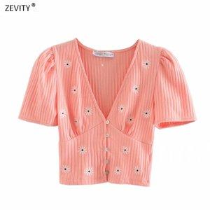 femmes Zevity mode v cou tricot broderie florale pull mince occasionnels plis féminins boutons à manches courtes chandails tops T666