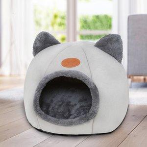 Cute Cat Head Shaped Kennel Cat Nest Soft Plush Dog Bed Small Dog Warm Fleece House Pet Winter Sleeping Mat Sofa Accessories