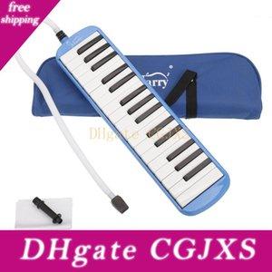 32 Key Melodica avec Sarbacane Coup de tuyau pour les étudiants Harmonica Jouets pour enfants Instruments de musique Bleu