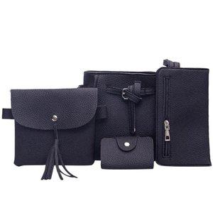 2020 damas nueva bolsa de hombro de la manera de la PU cuero bolsa de mensajero de cuatro piezas bolso de la manera señoras del hombro bolsas de mano # 5