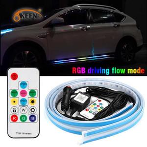 OKEEN Car LED 12V Door Light Universal Flexible Strip Waterproof Light Automobiles Door Welcome Lamp Remote control Accessories