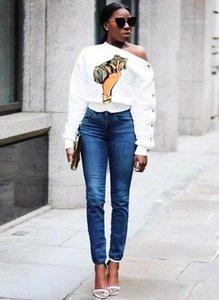 Tshirts Eğik Omuz Dolar Baskı Uzun Kollu Moda Stil Gündelik Kadın Giyim Kadın Sonbahar Tasarımcı