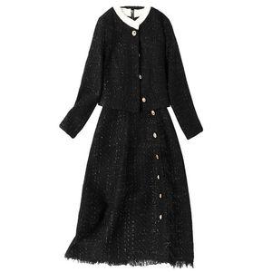 Tweed Suits Women 2020 Winter Wool Blazer Jacket Elegant Single Breasted Coat Midi Dress 2 Piece Set Office Lady Outfits