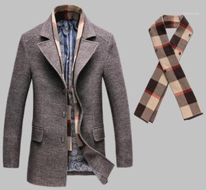 Windbreaker Wool Coats Casual Detachable Scarf Males Clothing Mens Winter Blends Panelled Fashion Slim Single Breasted Designer