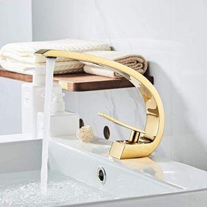 IMPEU Shiny Polished Gold Bathroom Sink Faucet, Unique Design One Handle Single Hole Lavatory Faucet, Basin Mixer Tap Commercial